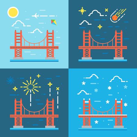 gates: Flat design of Golden gate illustration vector