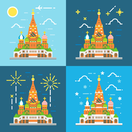 basils: Flat design 4 styles of saint Basils Cathedral illustration vector Illustration