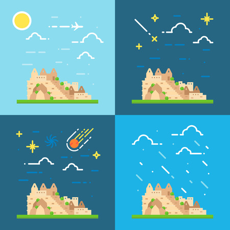 machu: Flat design 4 styles of Machu Picchu Peru illustration vector