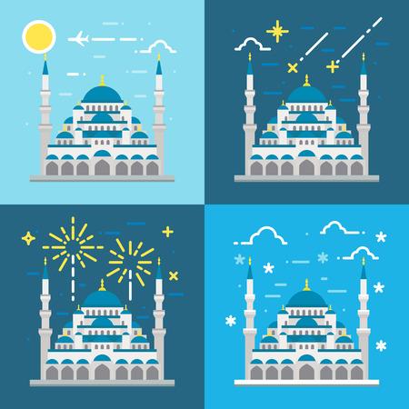 블루 모스크 터키 이스탄불 그림 벡터의 플랫 디자인 일러스트