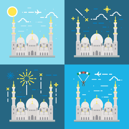 mosque illustration: Flat design of Sheikh Zayed grand mosque Abu Dhabi illustration vector Illustration