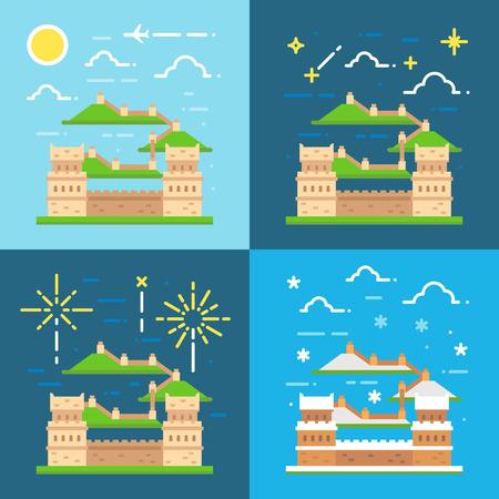 great wall: Flat design of Great wall China illustration vector
