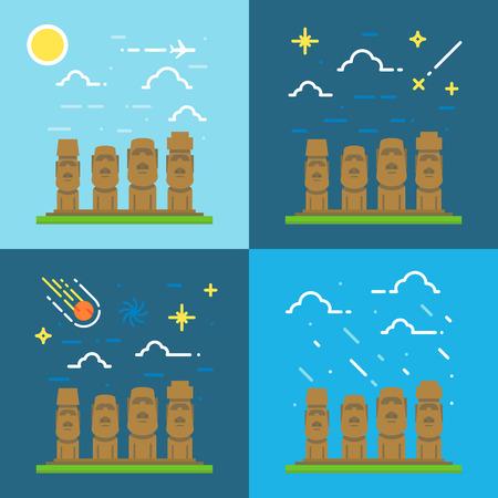 moai: Diseño plano de Moai Chile ilustración vectorial