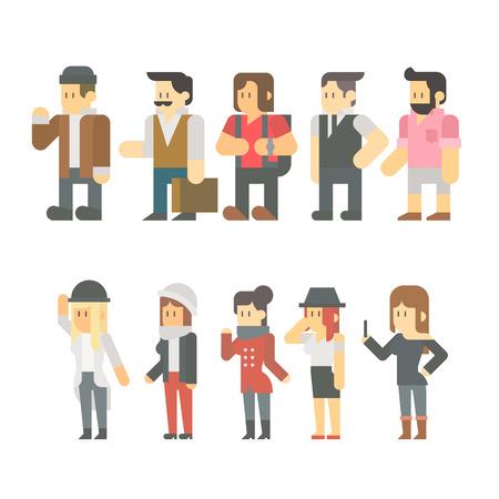 여행 사람들의 평면 설계는 그림 벡터를 설정 일러스트