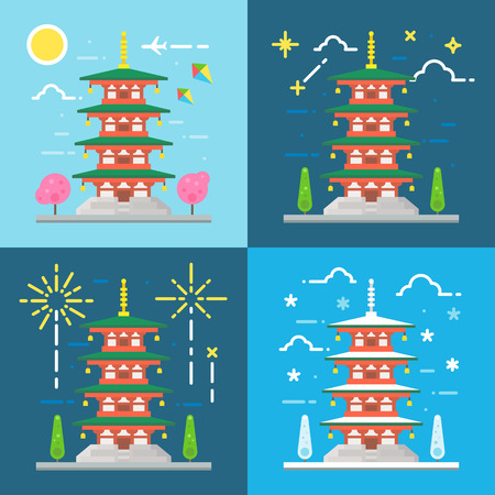 chureito: Flat design 4 styles of Chureito pagoda Japan illustration vector