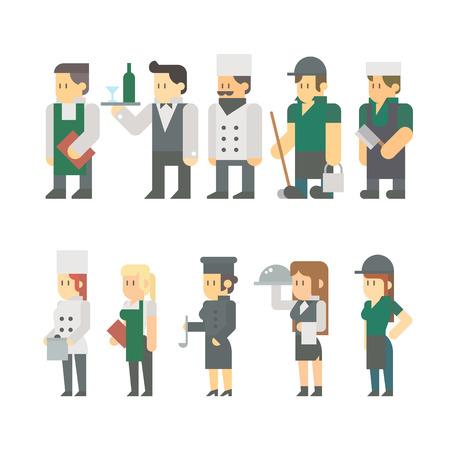 worker: Flat design of restaurant worker set illustration vector Illustration