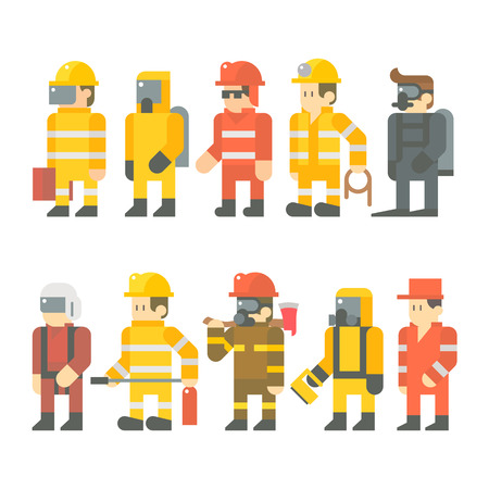 diving save: Flat design of rescue worker set illustration vector Illustration