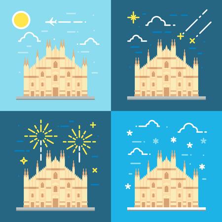 italy culture: Flat design 4 styles of Duomo di Milano Italy illustration vector
