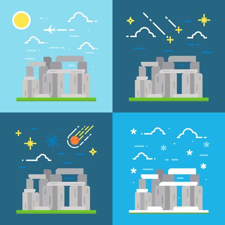 stonehenge: Flat design of Stonehenge UK illustration vector