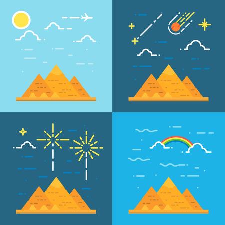기자 이집트 그림 벡터의 피라미드의 평면 설계는 4 스타일