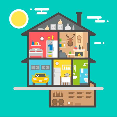 casale: Design piatto di casa illustrazione interni vettoriale