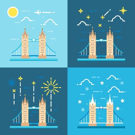 tower bridge: Flat design 4 styles of tower bridge UK illustration vector Illustration