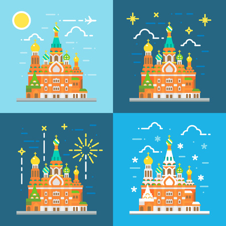 sauveur: Flat design of church of the savior on blood Russia illustration vector
