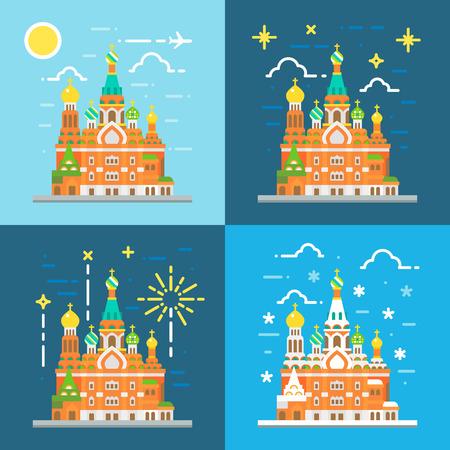 petersburg: Flat design of church of the savior on blood Russia illustration vector
