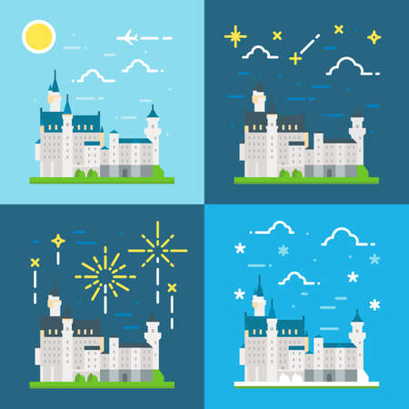 castle: Flat design of Neuschwanstein castle Germany illustration vector Illustration