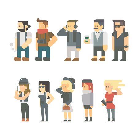 personas en la calle: Diseño plano de la gente inconformista establece ilustración vectorial Vectores