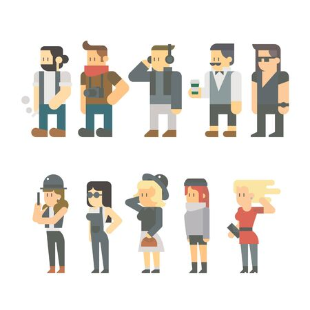 casual people: Flat design of hipster people set illustration vector