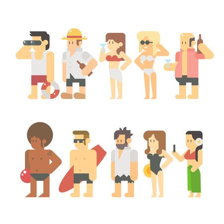 flat: Flat design of beach people illustration vector