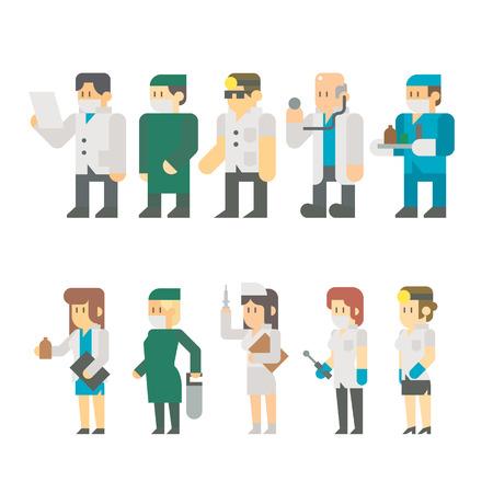 의료 노동자 설정 그림 벡터의 플랫 디자인