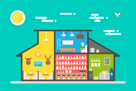 bar counter: Flat design of bar interior illustration vector Illustration
