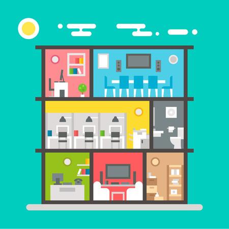 Flat design of office interior illustration vector Illustration