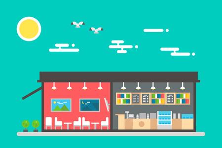 negocios comida: Diseño plano del interior de la cafetería ilustración vectorial