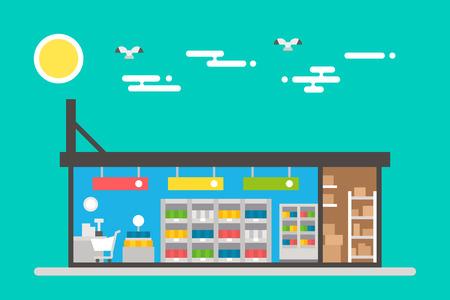 슈퍼마켓 내부 그림 벡터의 플랫 디자인