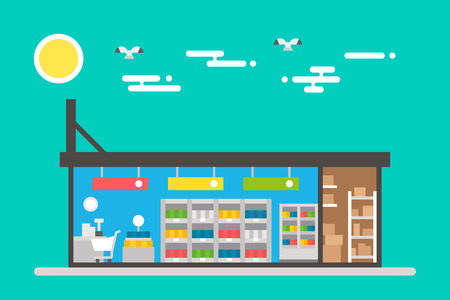interior decoration: Flat design of supermarket interior illustration vector