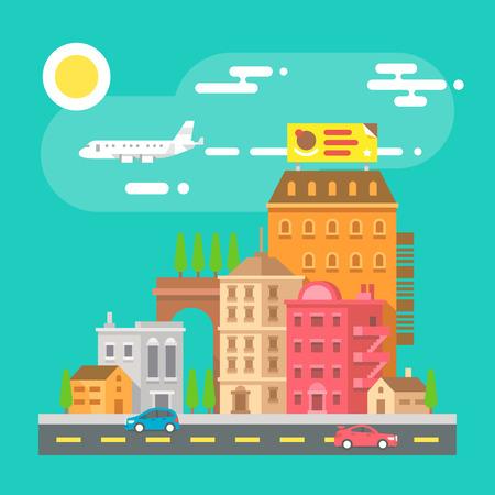 Colorful cityscape scene in flat design illustration vector Ilustração
