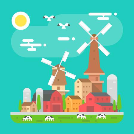 farm animal: Colorful farm landscape scene in flat design illustration vector