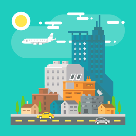 house illustration: Colorful cityscape scene in flat design illustration vector Illustration