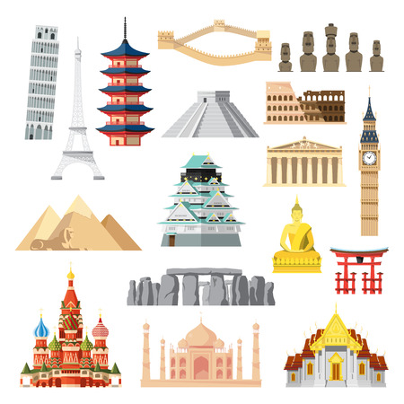 temple tower: Landmarks set in flat design illustration vector