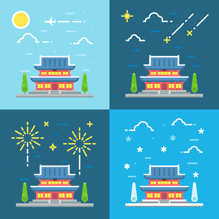 asian culture: Chandeokgung palace flat design illustration vector Illustration