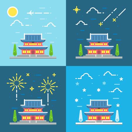 Chandeokgung palace flat design illustration vector Ilustração