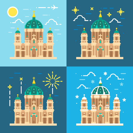 city at night: Berliner Dom cathedral flat design illustration vector