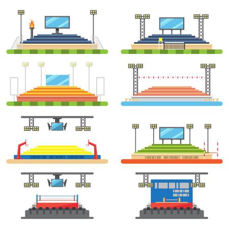 스포츠 경기장과 무대 세트 그림 벡터
