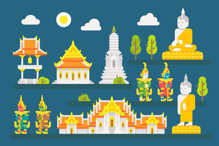 buddhist: Thailand temple infographic elements set illustration vector