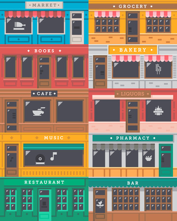 houses street: Front shop facade set illustration vector