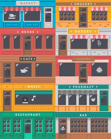 compras: Tienda Fachada frontal establecer ilustración vectorial