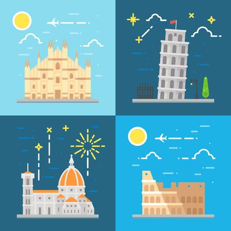 duomo of florence: Flat design Italy landmarks set illustration vector