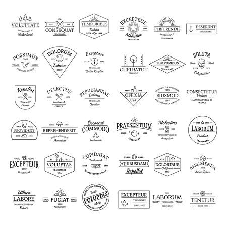 shield set: Vintage retro logo badges set illustration vector