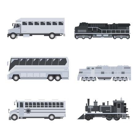 passenger transportation: Bus truck and train set illustration vector Illustration