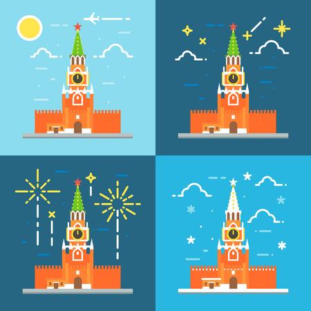 kremlin: Kremlin clock tower flat design illustration vector