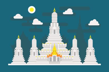 와트 아룬 태국 사원 그림 벡터 일러스트