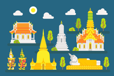 Thailand temple infographic elements set illustration vector