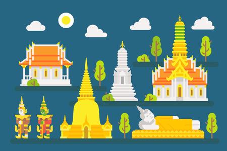 Thailand temple infographic elements set illustration vector