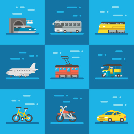 여행 차량 설정 평면 디자인 그림 벡터 일러스트