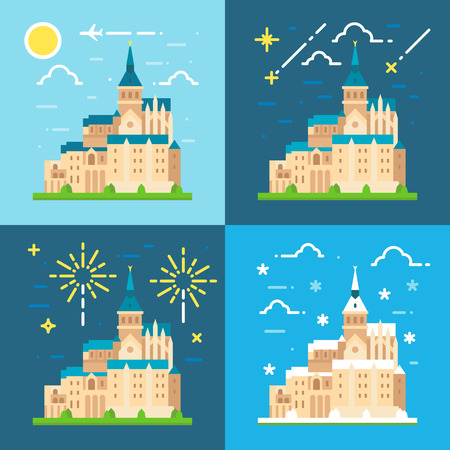 Mont Saint Michel flat design illustration vector