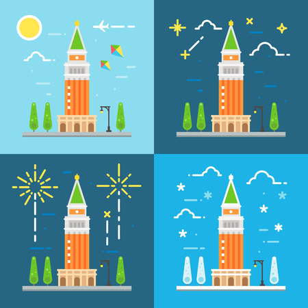 venezia: Saint Marks campanile flat design illustration vector
