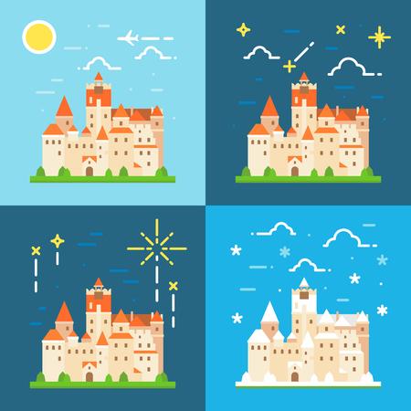 castle buildings: Bran castle germany flat design Illustration